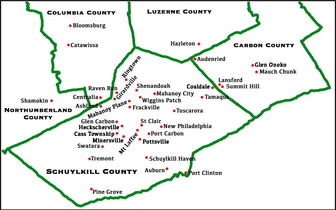 Locations of Pennsylvania