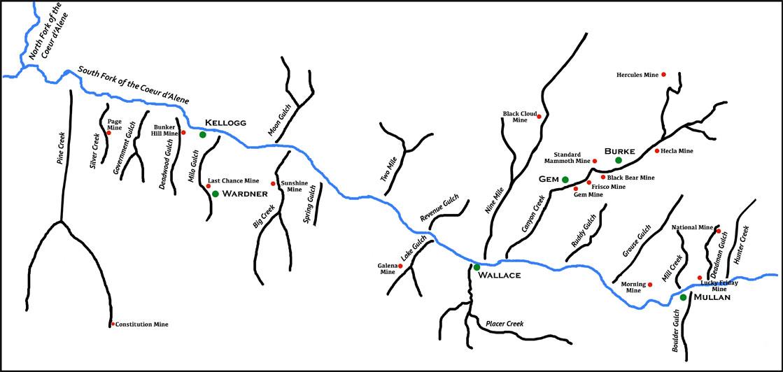 Couer d'Alenes Mining Region